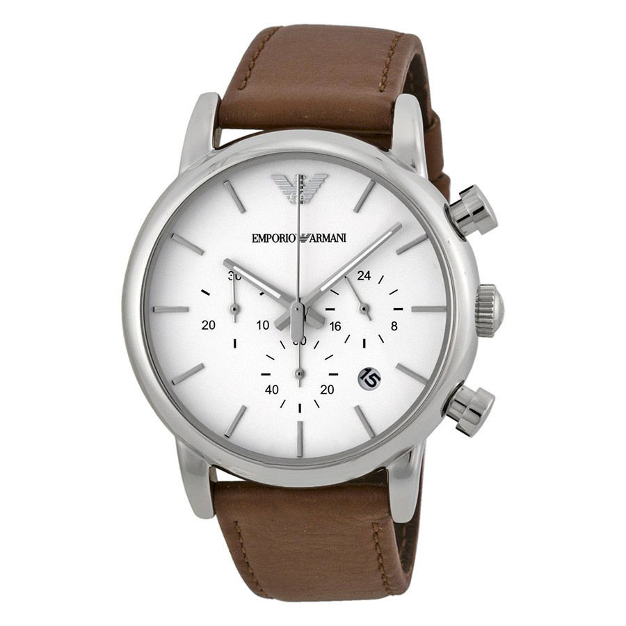 emporio armani chronograph white dial brown leather watch. Black Bedroom Furniture Sets. Home Design Ideas