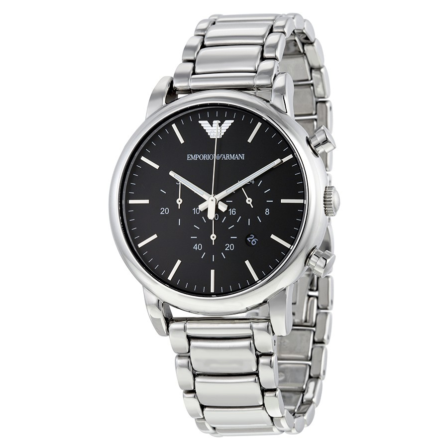 emporio armani chronograph black dial watch watchmall. Black Bedroom Furniture Sets. Home Design Ideas