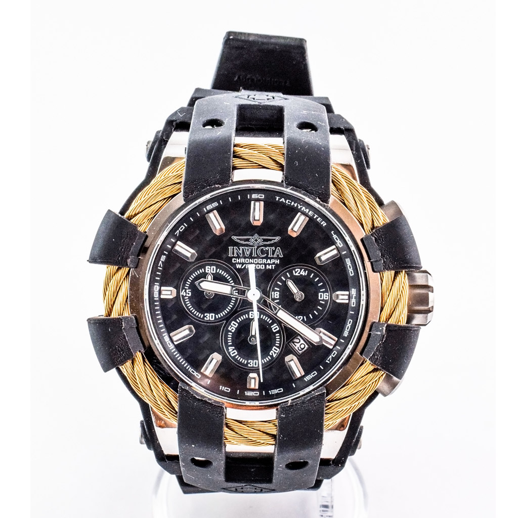 invicta watch bolt chronograph black dial watchmall