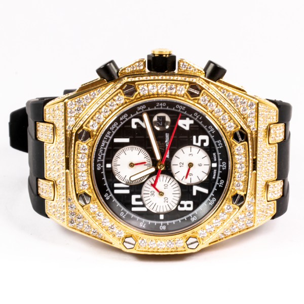 Audemars Piguet Stone Crusted Gold Black Dial Watch Watchmall